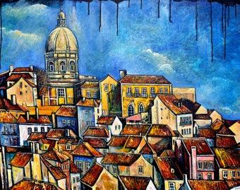 Cityscape acrylic painting, Winter in Lisbon, ORIGINAL art, Portugal painting, Vintage town, Architecture, wall art, Home decor Alex Solodov