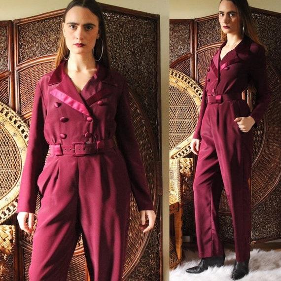 vintage 1970s 80s maroon jumpsuit / sophisticated