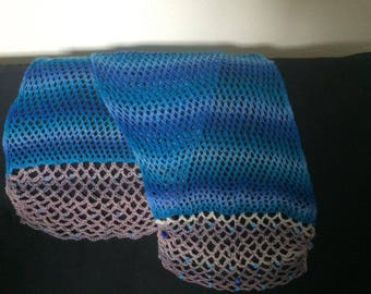 Lacy Shawl / Scarf / wrap with beads, handmade knit, blue and grey