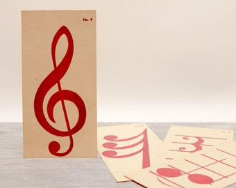5 x Vintage Music FlashCards Teacher Gift Student Party Invitation Tag Notes Symbols Bars Staff Clef Paper Supplies
