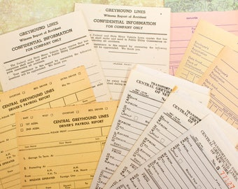 10x Vintage Greyhound Forms Unused Receipts Blank Bus Transportation Witness Report of Accident Payroll