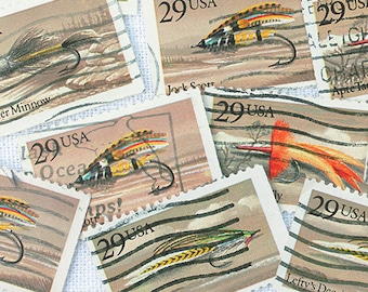15 x Fly Fishing Flies Vintage Postage Stamps Let's Go Fishing! Man Cave Fathers Day Dad Books Scrapbooking Paper Supplies Junk Journal