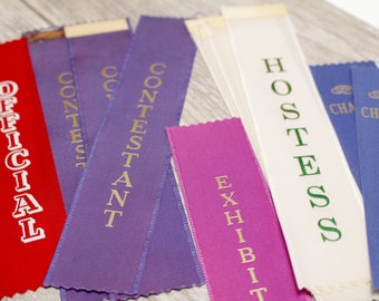 10x vintage award ribbons contestant hostess exhibitor member blue white vintage 1960 prize supplies scrapbooking party gift