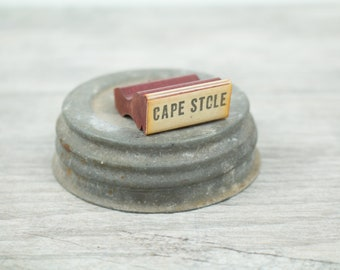 Vintage Rubber Stamp Wood Handle Color White Fox 1960s Office Supplies Business Handstamp