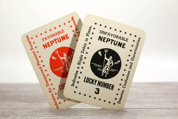 2x Vintage Neptune Astrological Cards Fortune Telling Horoscope God of Sea Pieces Zolar's Tarot