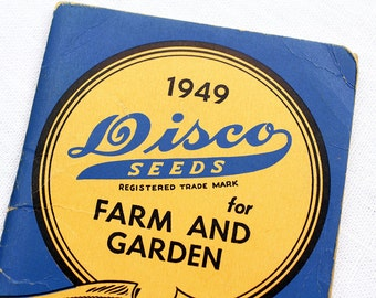 Vintage Seed Packet Book Disco Seeds 1949 Farm and Garden Calendar Planner Vegetables Corn Spring Paper Stationery