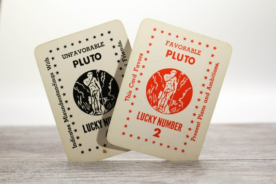 2x Vintage Planet Fortune Cards Zolar's Astrological Fortune Telling Pluto Horoscope Tarot