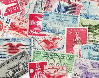 10x Vintage Air Mail Postage Stamps Vintage Airplanes Stickers Lot Altered Art Collage DeStash Paper Supplies Vintage Scrapbooking