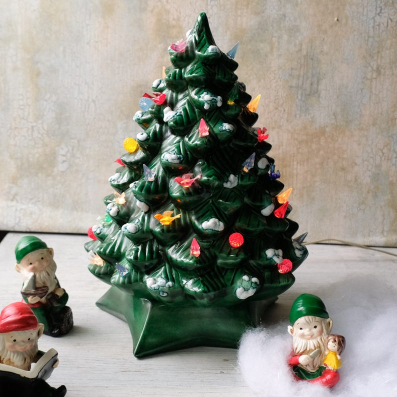 Vintage 14 Green Ceramic Christmas Tree Light Up Multicolored Green Tree 1960s Holiday Decor Grandmas Christmas Tree