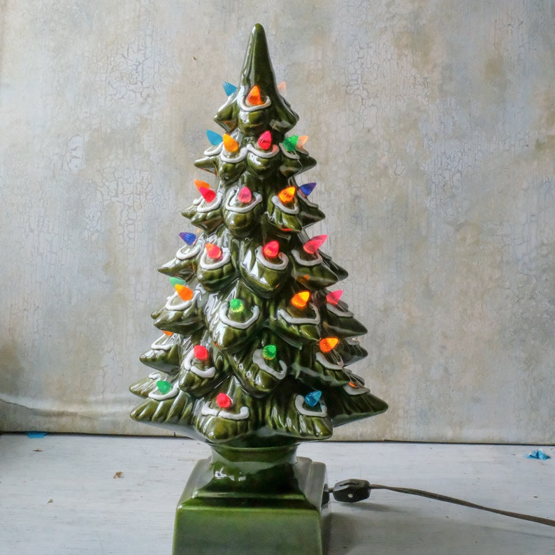 Vintage 17 Green Ceramic Christmas Tree Light Up Multicolored Green Tree 1970s Holiday Decor Grandmas Christmas Tree