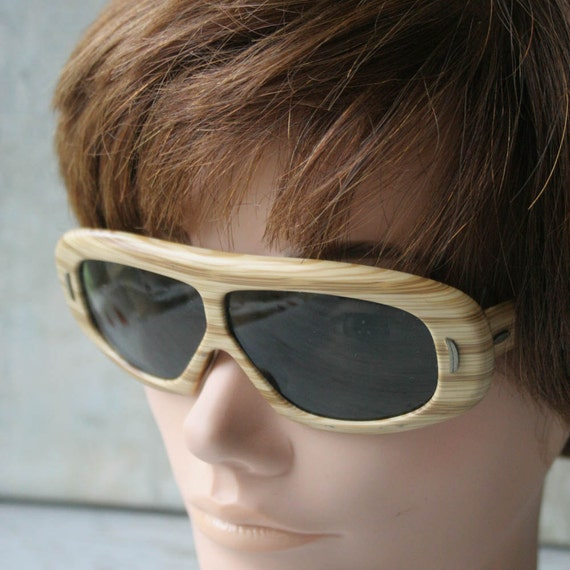Vintage 1960s Wooden Sunglasses, Brown, Tan Sungla