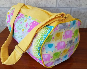 0b402f845a Yellow Patchwork Girls Overnight Sleepover Duffel Bag - With adjustable  strap and internal zipper pocket.