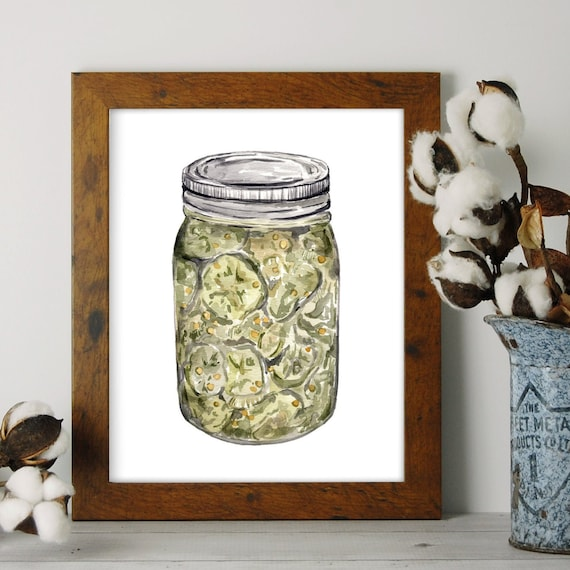 Canned Food Pickles Mason Jar Painting Kitchen Art Original Painting