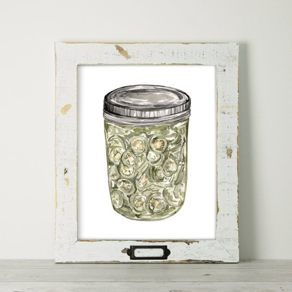 Canned Food Pickled Jalapenos Mason Jar Painting Kitchen Art Original Painting