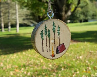 Rustic Ornament, Painting on Wood, Camping Ornaments, Tent Camping Ornaments, Wood Slice, Pine Trees