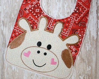 Digital Download  Cow Bib In The Hoop Embroidery Design for the 6x10 hoop