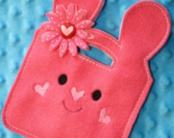 Digital Download Bunny Tall Tote In The Hoop Embroidery Machine Design for the 5x7 hoop