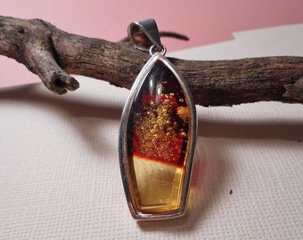 Baltic Amber Pendant Two Tone