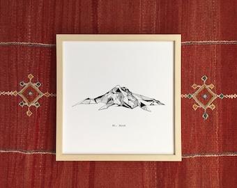 Mount Hood Oregon Polygonal Mountain Drawing - Art Print
