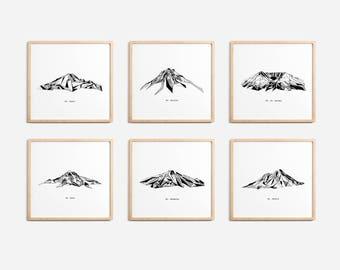 Cascade Range Mountains Polygonal Drawings Art Print Collection - Rainier Helens Baker Hood Bachelor Shasta