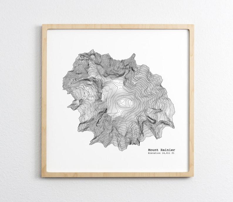 Mt Rainier Topographic Map.Mt Rainier Washington Art Print Topographic Map Etsy
