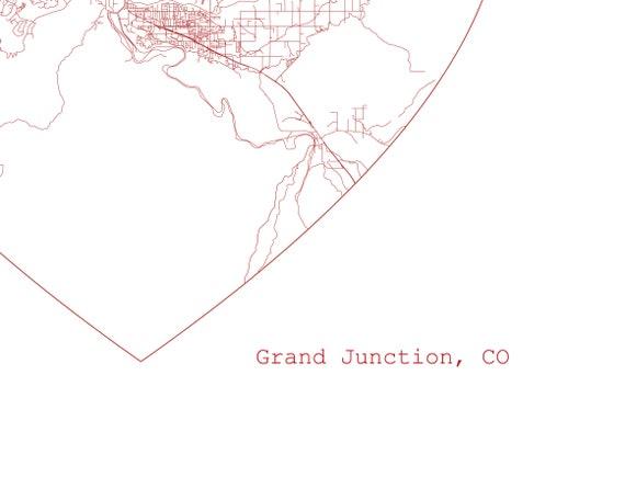 Grand Junction Colorado City Heart Map - Art Print - Home Decor