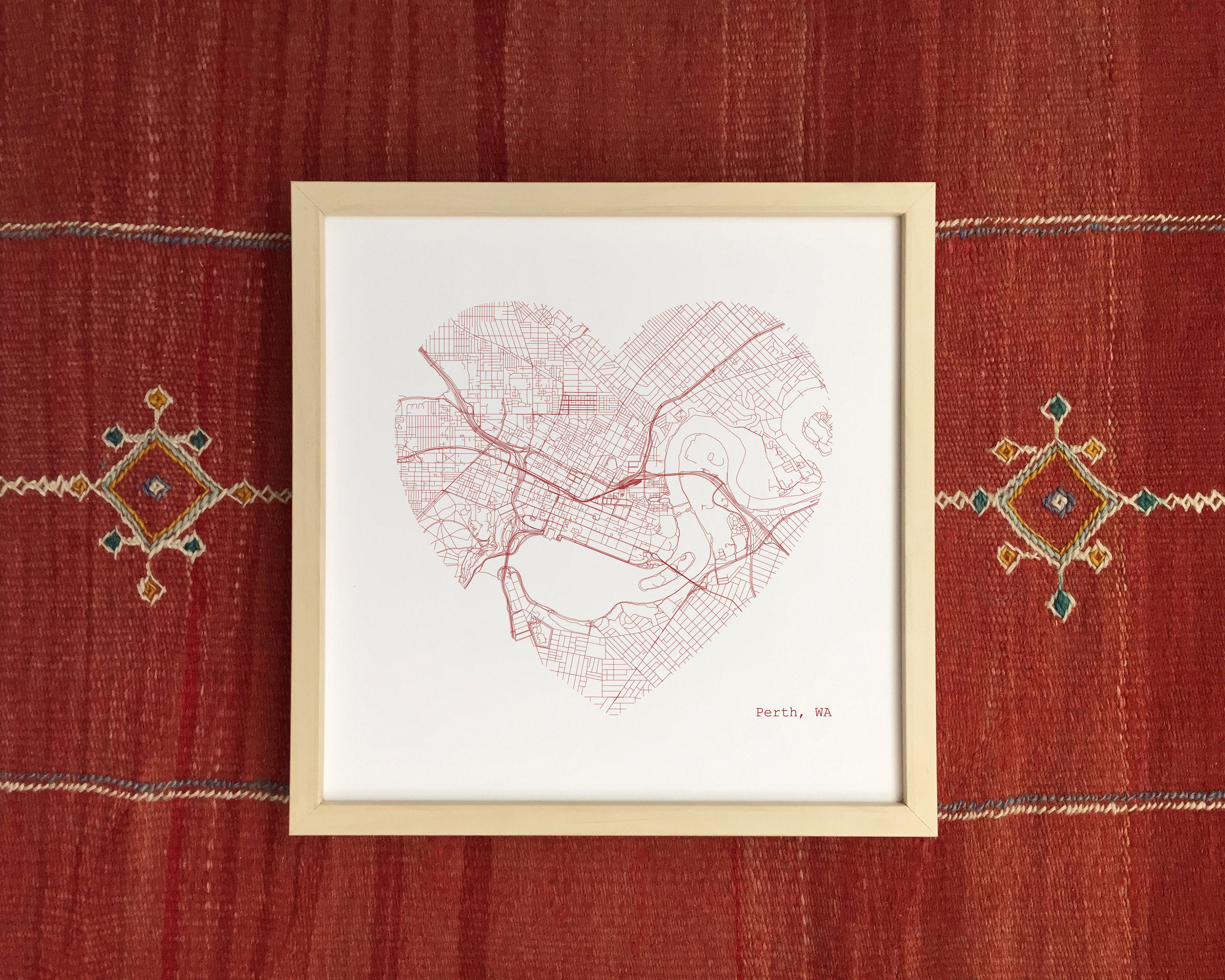 Perth Australia City Heart Map Art Print Home Decor