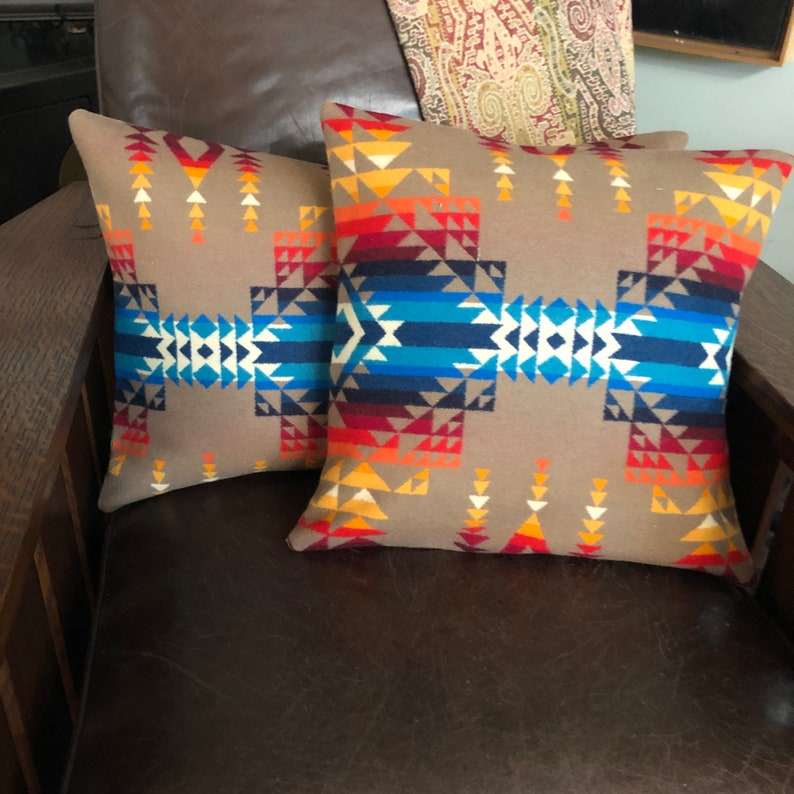 Southwestern Wool pillow cover in Pendleton wool Pilot Rock-Tribal Pillow-Geometric Design Pillow Oregon Wool