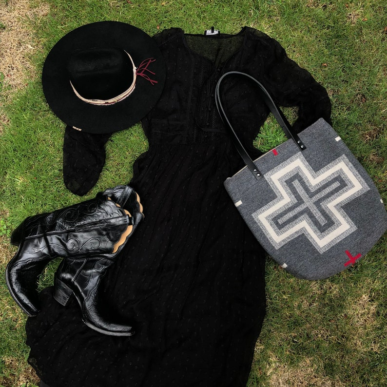 Cross Design Classic Tote Bag in Pendleton wool San Miguel-Women/'s Tote Bag Charcoal Gray Wool Tote Womens Shoulder Bag