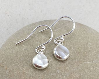Silver Pebble Earrings, Polished Silver Nugget Earrings, Handmade Silver Earrings, Silver Dangle Earrings Dangle Pebble Earrings