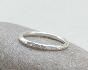 Silver Stacking Ring, Handmade 2mm Silver Stacking Rings, Hammered Silver Stacker Rings, Handmade UK Silver rings, Gold Stacking Rings