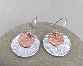 Silver and Copper Disc Dangle Earrings, Hammered Silver Earrings, Dangle Earrings, Silver Drop Earrings, Copper and Silver Earrings