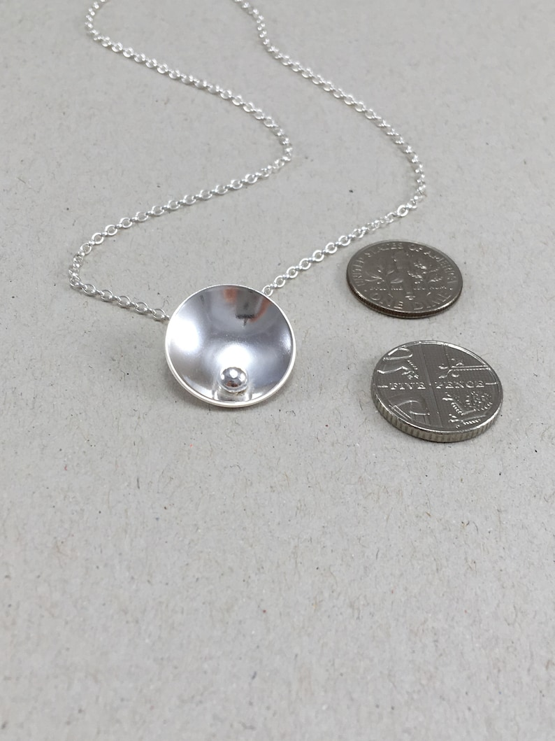 Silver Jewellery Gift Set Silver Necklace and Studs Silver Circle and Pebble Necklace Sterling Silver Dome Necklace /& Earring Set