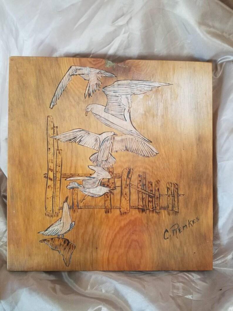 Wood Burning, Seagulls, Beach Scene, Bathroom Decor, Wall Hanging,old,  Antique, Unique Gift