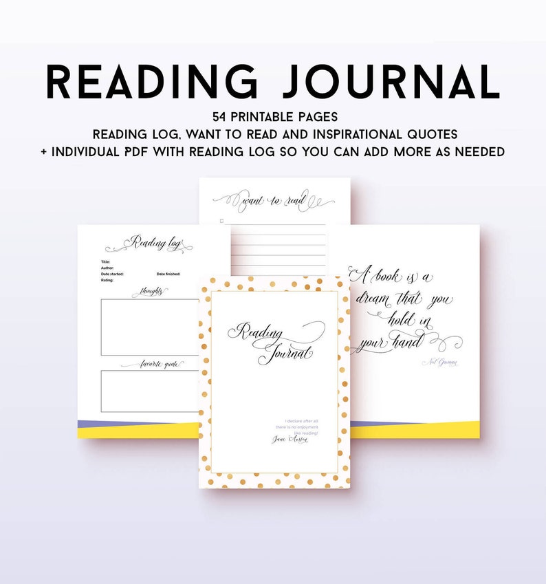 photograph regarding Printable Reading Log known as Printable looking at magazine, electronic obtain looking at log with guide quotations, reserve partner present, looking through tracker nerdy present guides in direction of go through