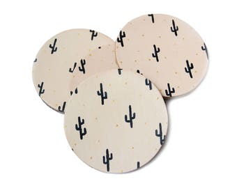 Leather Cactus Print Coasters, Leather Coaster Set