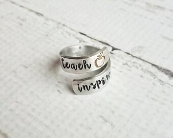 Teach, Inspire, Wrap Ring, Teacher Gift, Inspirational, Christmas, Apple, Love, Handstamped, Gift, Adjustable, Hammered, Aluminum, For Her