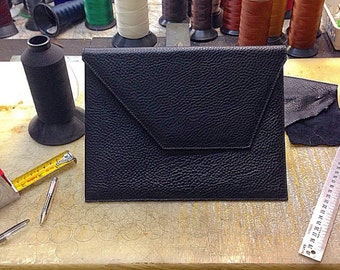Ipad Travel case Custom Made with Grain Leather with initials