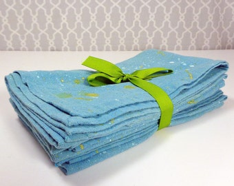100% Cotton Cloth Napkin Set of 6 in Teal with Star Splatter pattern