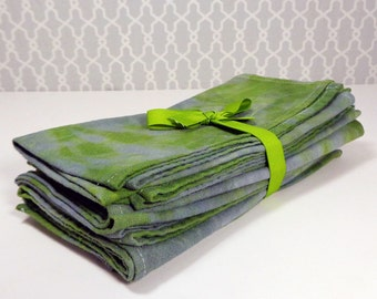 100% Cotton Cloth Napkin Set of 6 in Green and Gray
