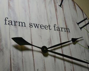 """24"""" Clock, Large Rustic Wood Clock, Farmhouse Clock, Old World, Wood Clock, Wooden Clock, Farm House Clock, Natural Wood Clock Wall Clock"""