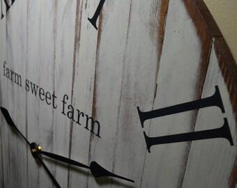 """20"""" Clock, Large Rustic Wood Clock, Farmhouse Clock, Old World, Wood Clock, Wooden Clock, Farm House Clock, Natural Wood Clock Wall Clock"""