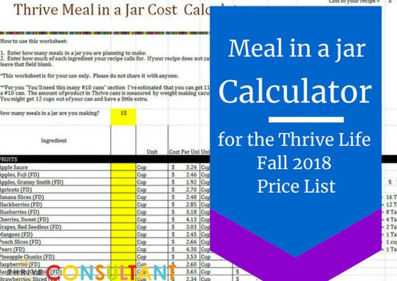 Meal In A Jar Recipe Cost Calculator Thrive Life Fall 2018 Etsy