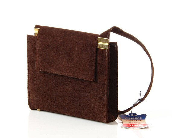 b0302b5121 1960s Brown Suede Shoulder Bag   Vintage Mod Brown Leather