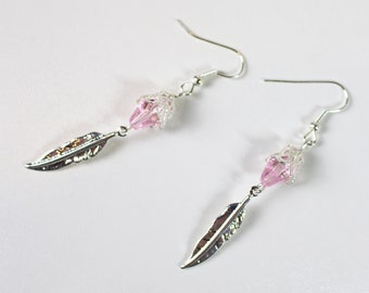 Earrings drop roses and feathers silver