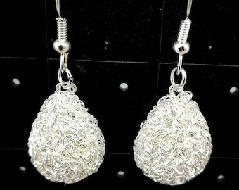 Silver stardust drop earrings