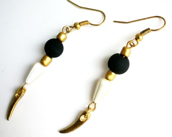 Black satin and gold earrings