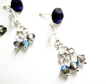 Candle blue Swarovski earrings