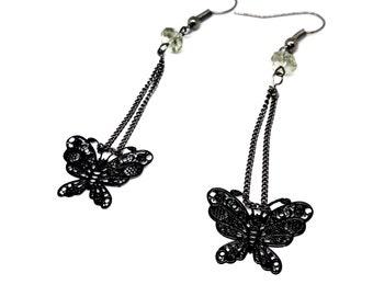 Black filigree butterfly earrings