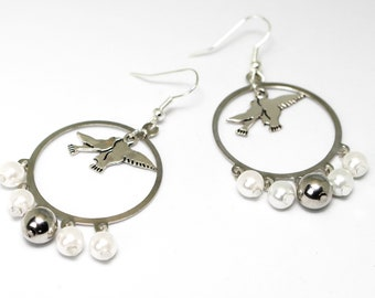 Hoop earrings silver and white doves